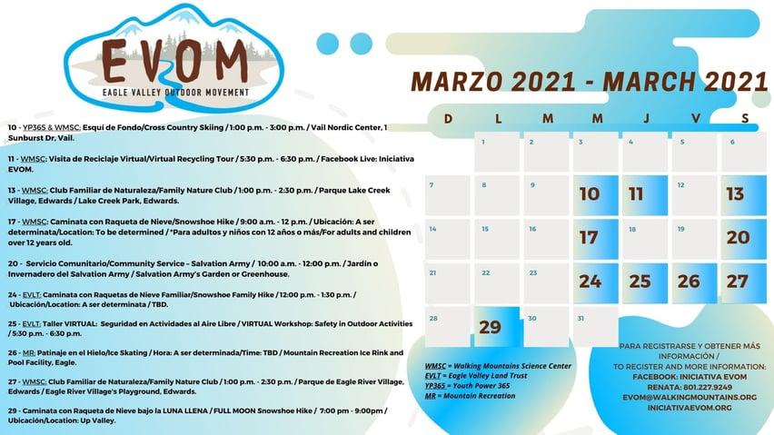 EVOM March 2021 Event Calendar Flyer