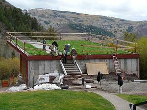 Meadows Learning Studio green roof installation at Walking Mountains Science Center