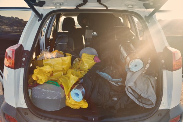 Trunk with stuff for camping 600x400